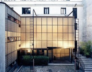 Precedent for Type C  LAYER CAKE / LOFT (LIVE-ADJACENT):  Maison de Verre [Paris, France 1932] by Bernard Bivjoet and Pierre Chareau, consisting of ground floor consulting rooms for a doctor with two floors of living accommodation above.