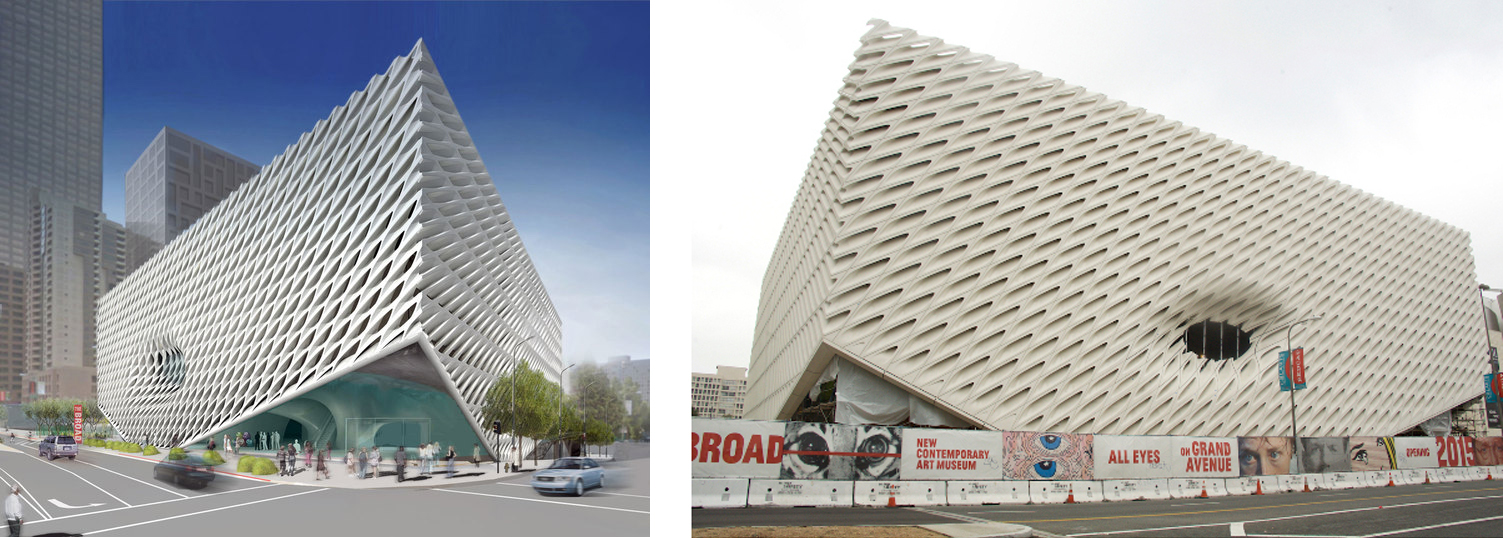rendering of the Broad museum in LA and the built museum in LA by  Diller, Scofidio + Renfro