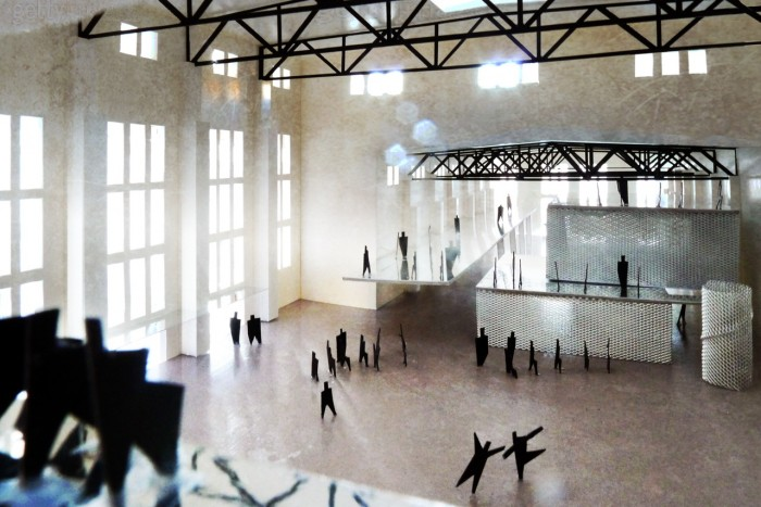 2_Der roh belassene Veranstaltungsraum der 'Kathedrale' mit Blick auf die 'Wabenstadt' in der Jutierhalle