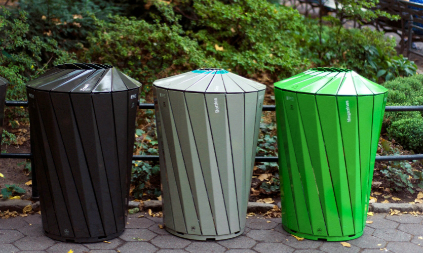 Central Park Conservancy trash and recycling receptacles. Image: Elliot Scott, Lady Tanmantiong/Landor Associates