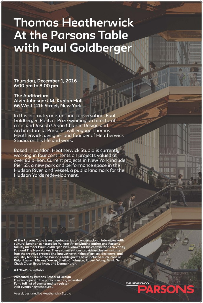 Thomas Heatherwick at the Parsons Table with Paul Goldberger - This Thursday, 12/1